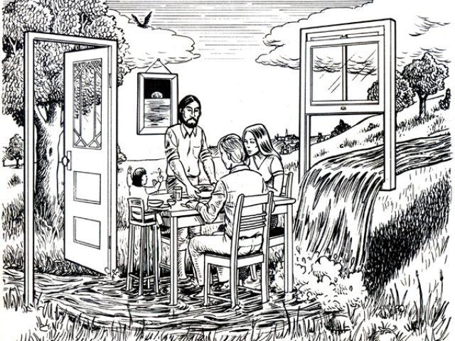Ou habitez-vous livret - crédit dessin de Jay Kinney publié en 1981 dans CoEvolution Quarterly n°32 « Bioregions » © Jay Kinney